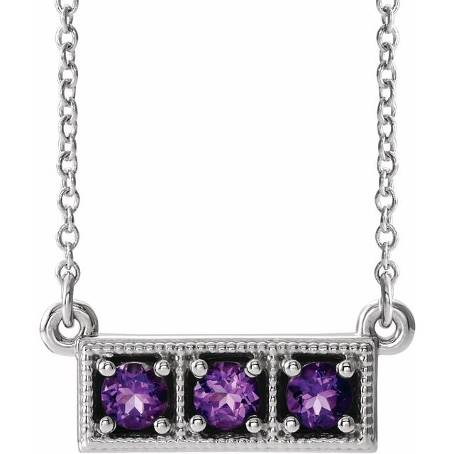 "Sterling Silver Amethyst Three-Stone Granulated Bar 16-18"" Necklace"