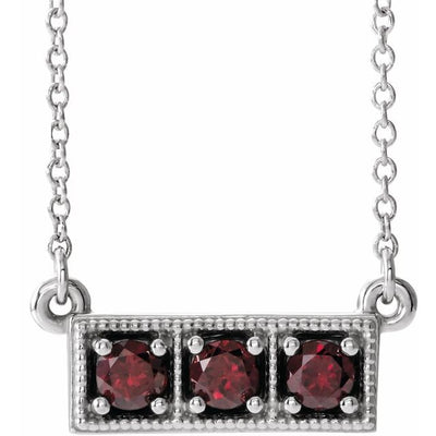 "14K White Mozambique Garnet Three-Stone Granulated Bar 16-18"" Necklace"