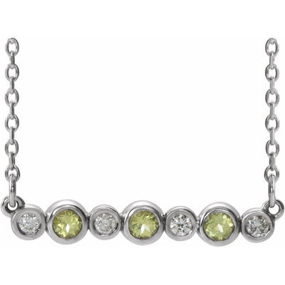 "14K White Peridot & .08 CTW Diamond Bezel-Set Bar 16-18"" Necklace"