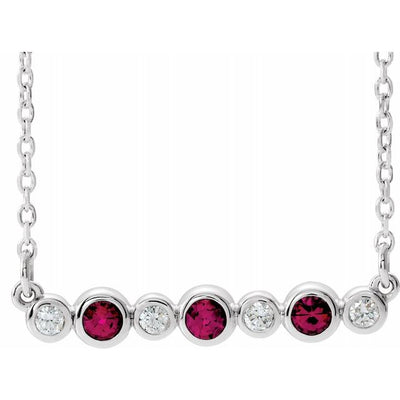 "14K White Chatham® Created Ruby & .08 CTW Diamond Bezel-Set Bar 16-18"" Necklace"