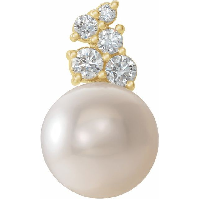 14K Yellow Freshwater Cultured Pearl & 1/4 CTW Diamond Pendant