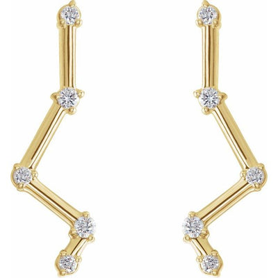 14K Yellow 1/10 CTW Diamond Constellation Earring Climbers