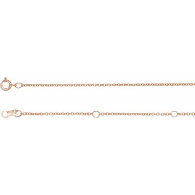 "14K Rose 1 mm Adjustable Solid Cable 16-18""  Chain - TreasureFineJeweler"