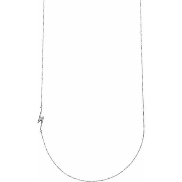 "Sterling Silver Lightning Bolt 16"" Necklace"
