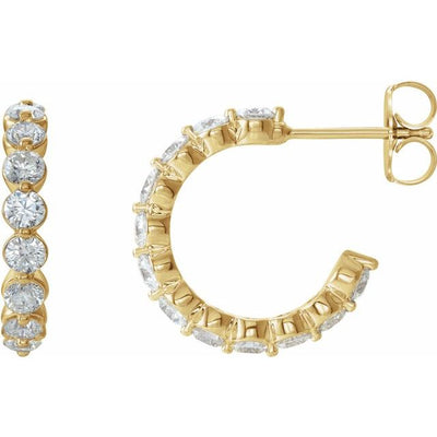 14K Yellow 1 3/8 CTW Diamond Hoop Earrings