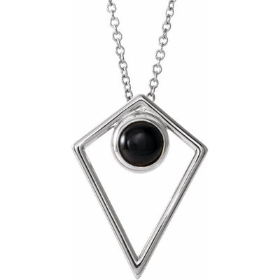 "Sterling Silver Onyx Cabochon Pyramid 24"" Necklace"