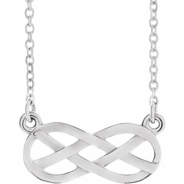 "14K White Infinity-Inspired Knot Design 18"" Necklace"