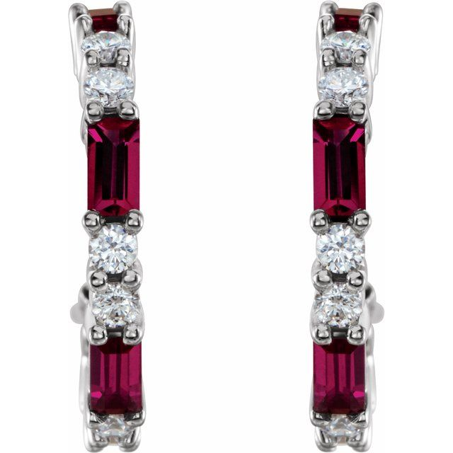 14K White Chatham® Created Ruby & 1/2 CTW Diamond Earrings