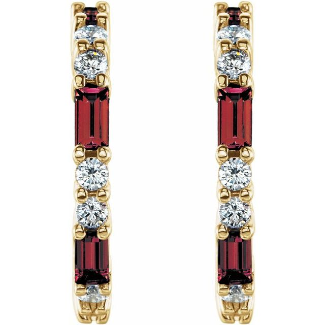 14K Yellow Mozambique Garnet & 1/2 CTW Diamond Earrings