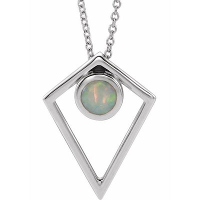 "Sterling Silver Opal Cabochon Pyramid 24"" Necklace"