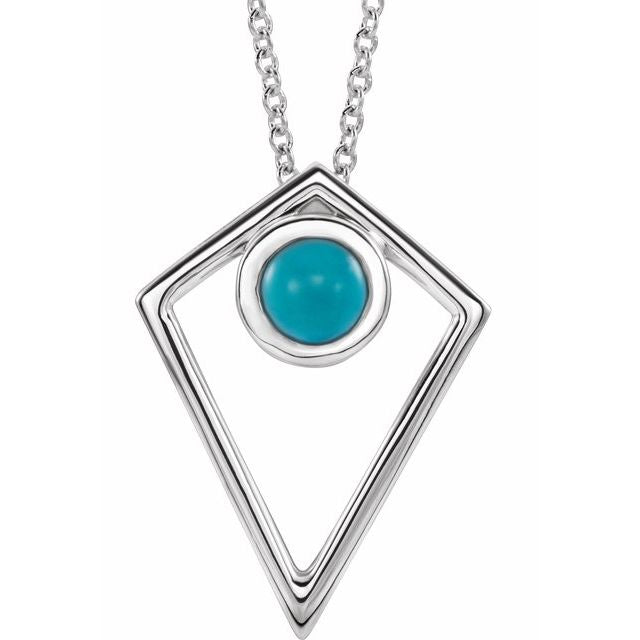 "Sterling Silver Turquoise Cabochon Pyramid 16-18"" Necklace"