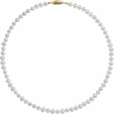 "14K Yellow Freshwater Cultured Pearl 16"" Necklace"