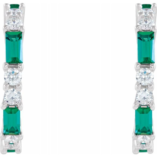 14K White Chatham® Created Emerald & 1/2 CTW Diamond Earrings