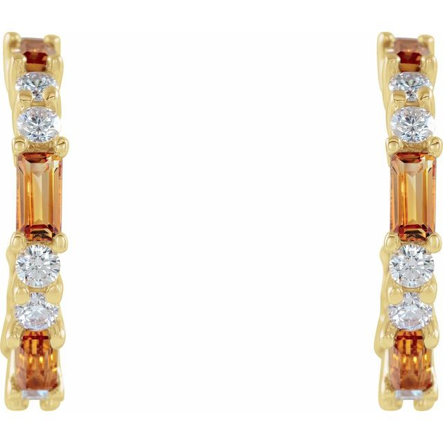 14K Yellow Citrine & 1/2 CTW Diamond Earrings