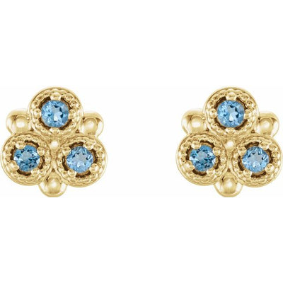 14K Yellow Aquamarine Three-Stone Earrings
