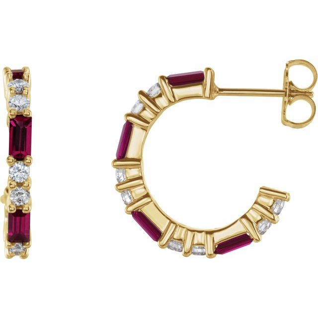 14K Yellow Chatham® Created Ruby & 1/2 CTW Diamond Earrings