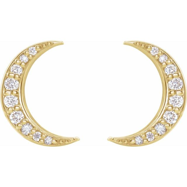 14K Yellow 1/10 CTW Diamond Crescent Moon Stud Earrings