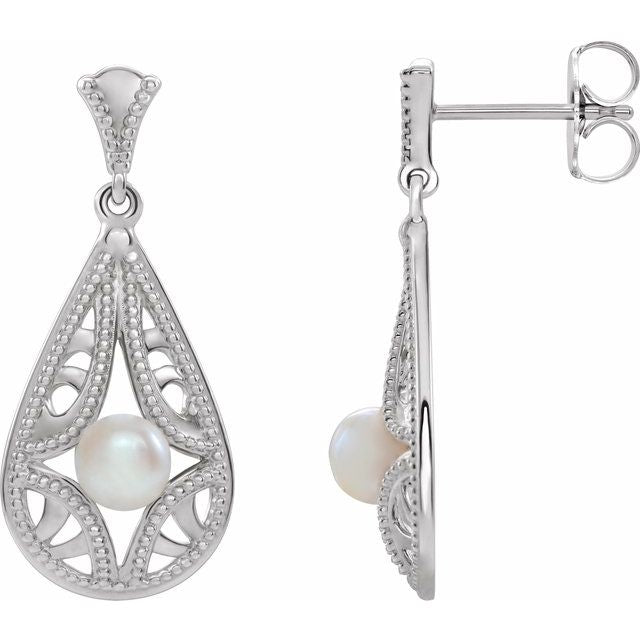 Sterling Silver Freshwater Cultured Pearl Vintage-Inspired Earrings