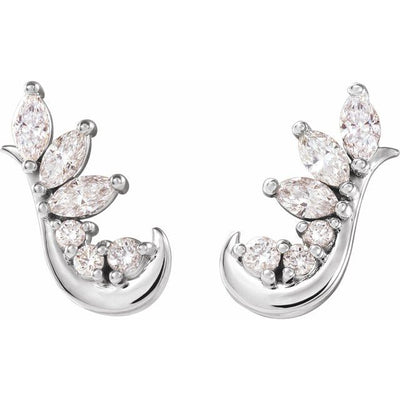 14K White 1/4 CTW Diamond Earring Climbers