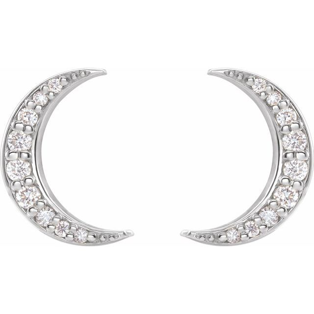 14K White 1/10 CTW Diamond Crescent Moon Stud Earrings