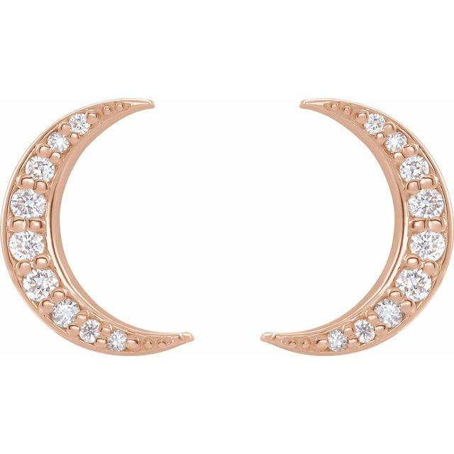 14K Rose 1/10 CTW Diamond Crescent Moon Stud Earrings