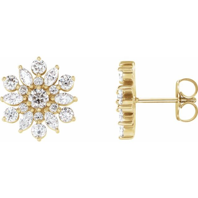14K Yellow 1 CTW Diamond Earrings