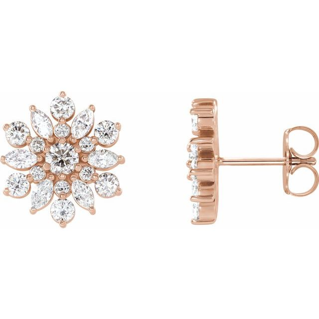 14K Rose 1 CTW Diamond Earrings