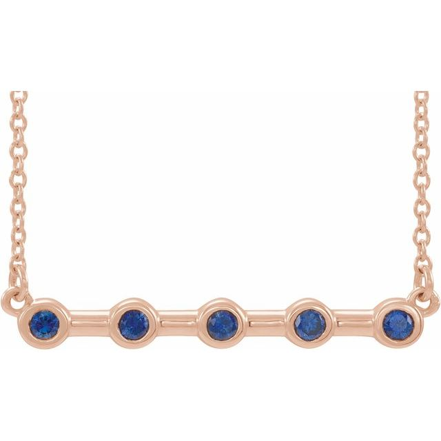 "14K Rose Blue Sapphire Bezel-Set Bar 16"" Necklace"