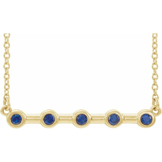 "14K Yellow Blue Sapphire Bezel-Set 16"" Bar Necklace"