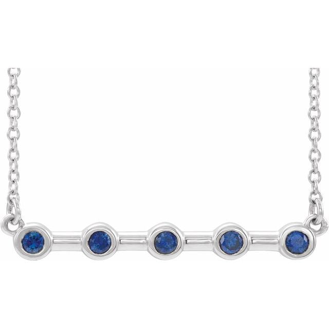 "14K White Blue Sapphire Bezel-Set 16"" Bar Necklace"