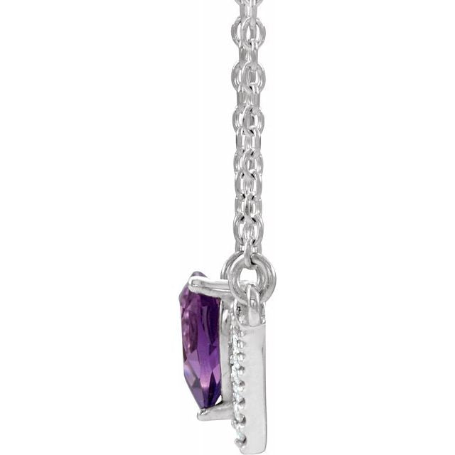 "14K White Amethyst & .06 CTW Diamond 18"" Necklace"