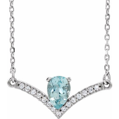 "14K White Aquamarine & .06 CTW Diamond 18"" Necklace"