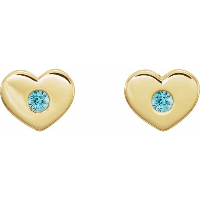 14K Yellow Blue Zircon Heart Earrings