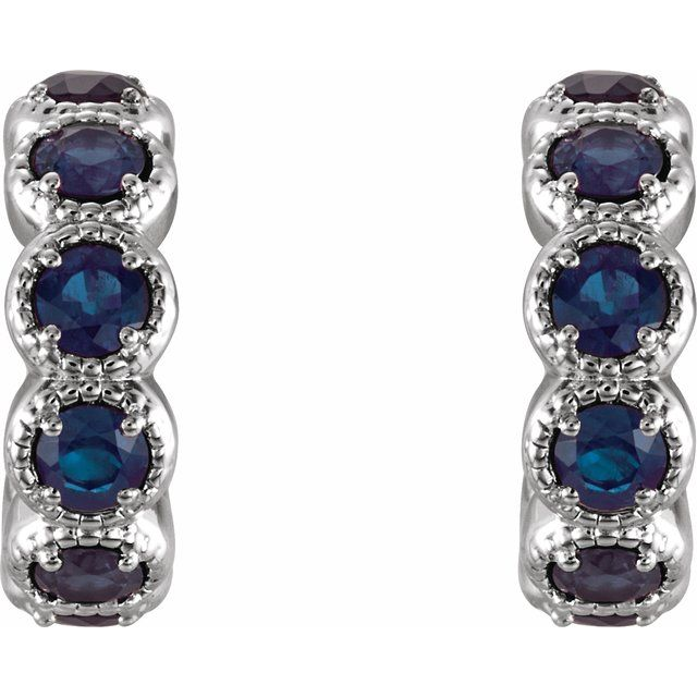 14K White Chatham® Lab-Created Sapphire Hoop Earrings