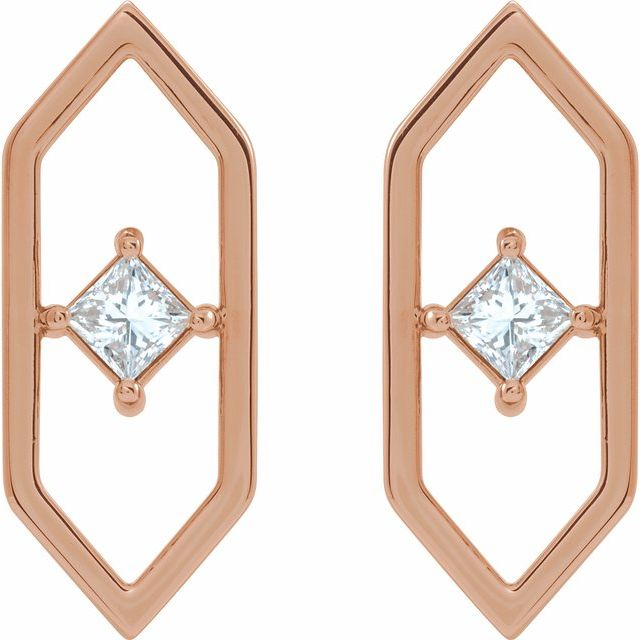 14K Rose 1/3 CTW Diamond Geometric Earrings