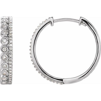 14K White 1/3 CTW Diamond Geometric Hoop Earrings