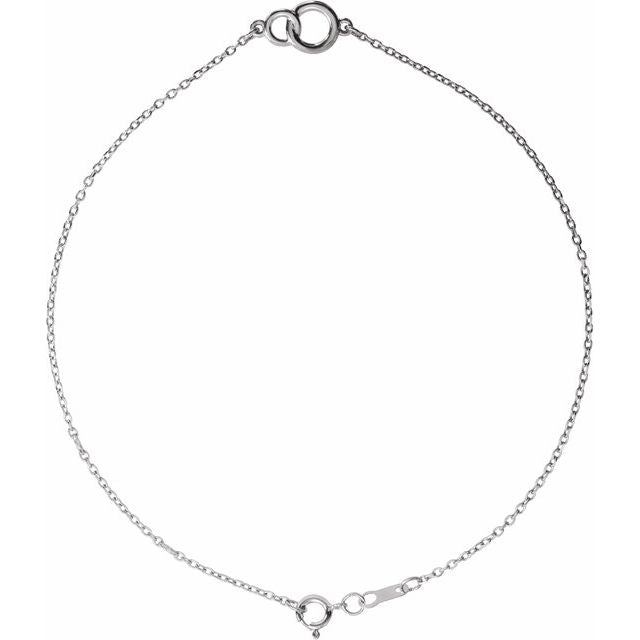 14K White Interlocking Circle Bracelet