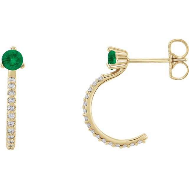 14K Yellow Chatham® Lab-Created Emerald & 1/6 CTW Diamond Hoop Earrings