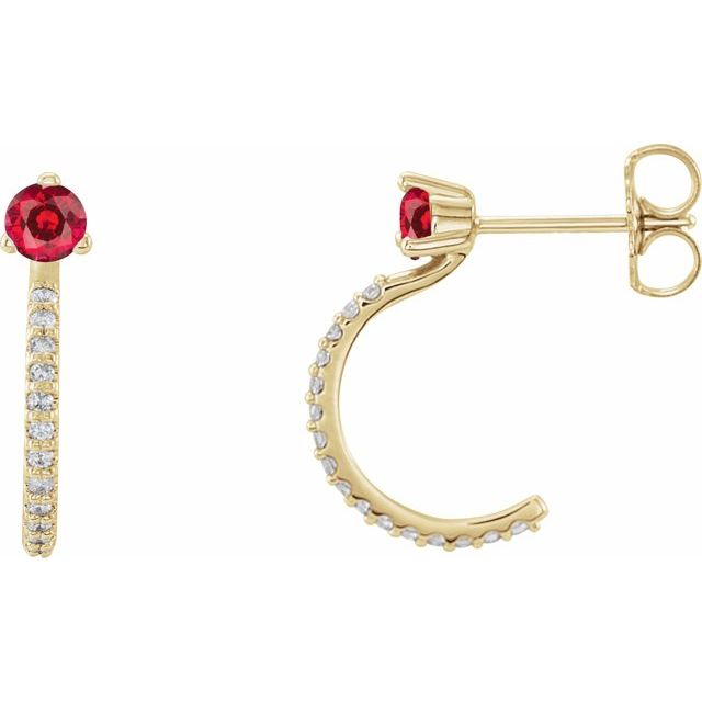 14K Yellow Chatham® Lab-Created Ruby & 1/6 CTW Diamond Hoop Earrings