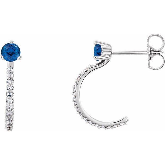 14K White Chatham® Lab-Created Blue Sapphire & 1/6 CTW Diamond Hoop Earrings