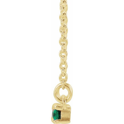 "14K Yellow Emerald & 1/5 CTW Diamond Bar 16-18"" Necklace"