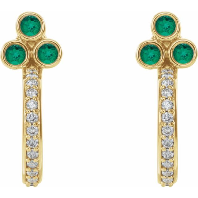 14K Yellow Emerald & 1/4 CTW Diamond J-Hoop Earrings