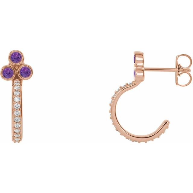 14K Rose Amethyst & 1/4 CTW Diamond J-Hoop Earrings