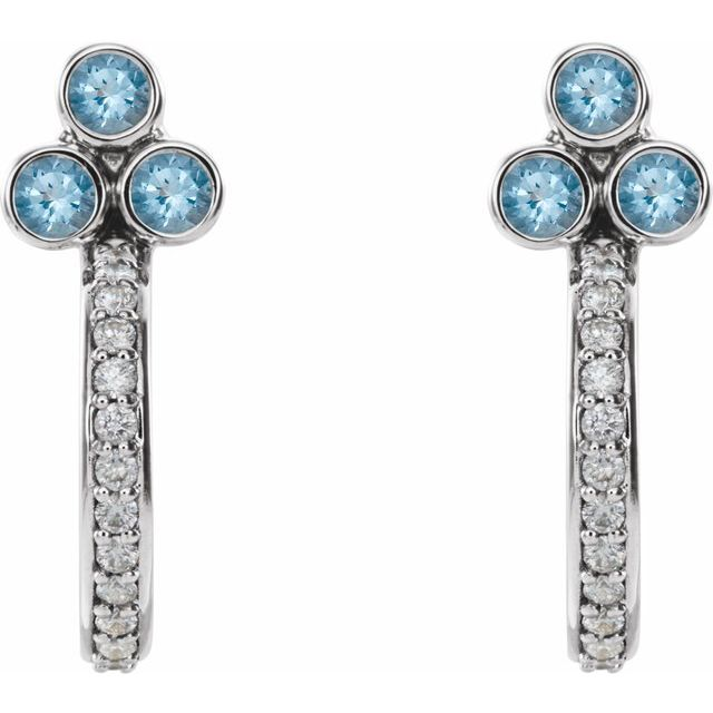 14K White Aquamarine & 1/4 CTW Diamond J-Hoop Earrings