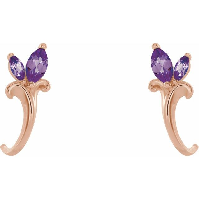 14K Rose Amethyst Floral-Inspired J-Hoop Earrings