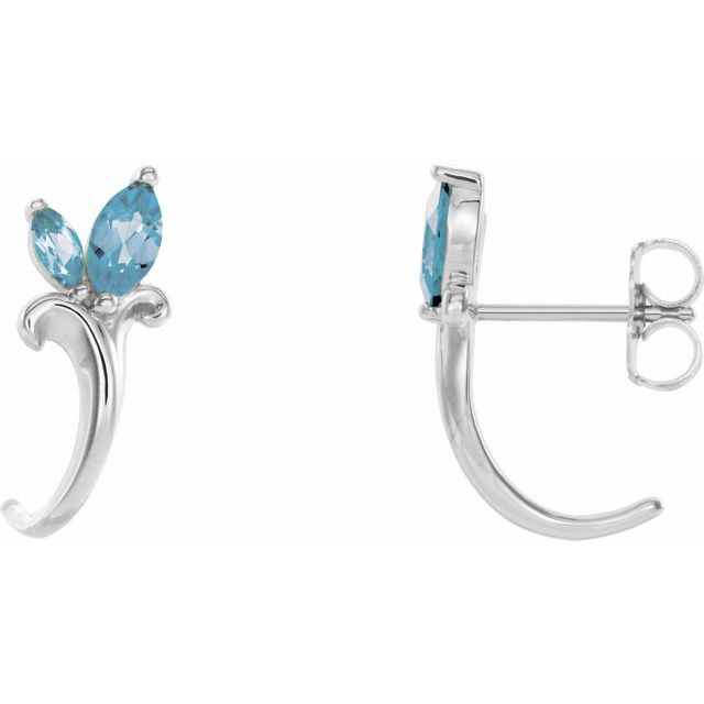 14K White Aquamarine Floral-Inspired J-Hoop Earrings