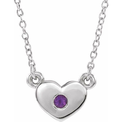 "14K White Amethyst Heart 16"" Necklace"