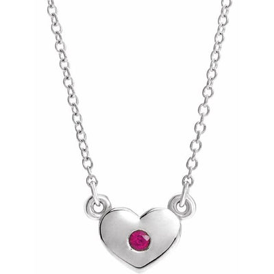 "Sterling Silver Ruby Heart 16"" Necklace"