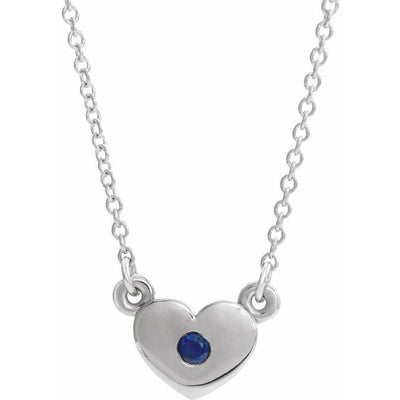 "14K White Blue Sapphire Heart 16"" Necklace"