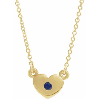 "14K Yellow Blue Sapphire Heart 16"" Necklace"